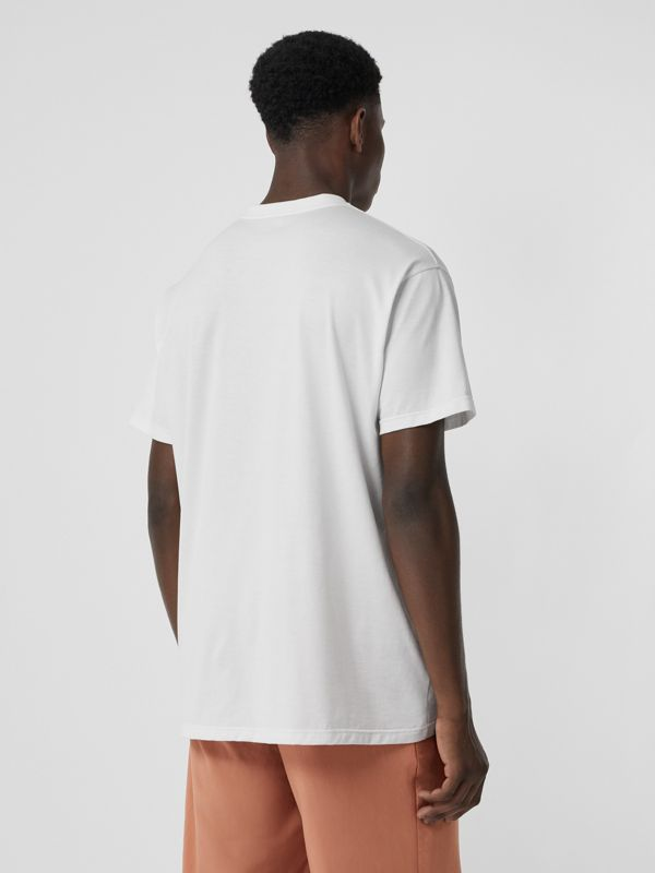 Logo Print Cotton Oversized T-shirt in White | Burberry - cell image 2