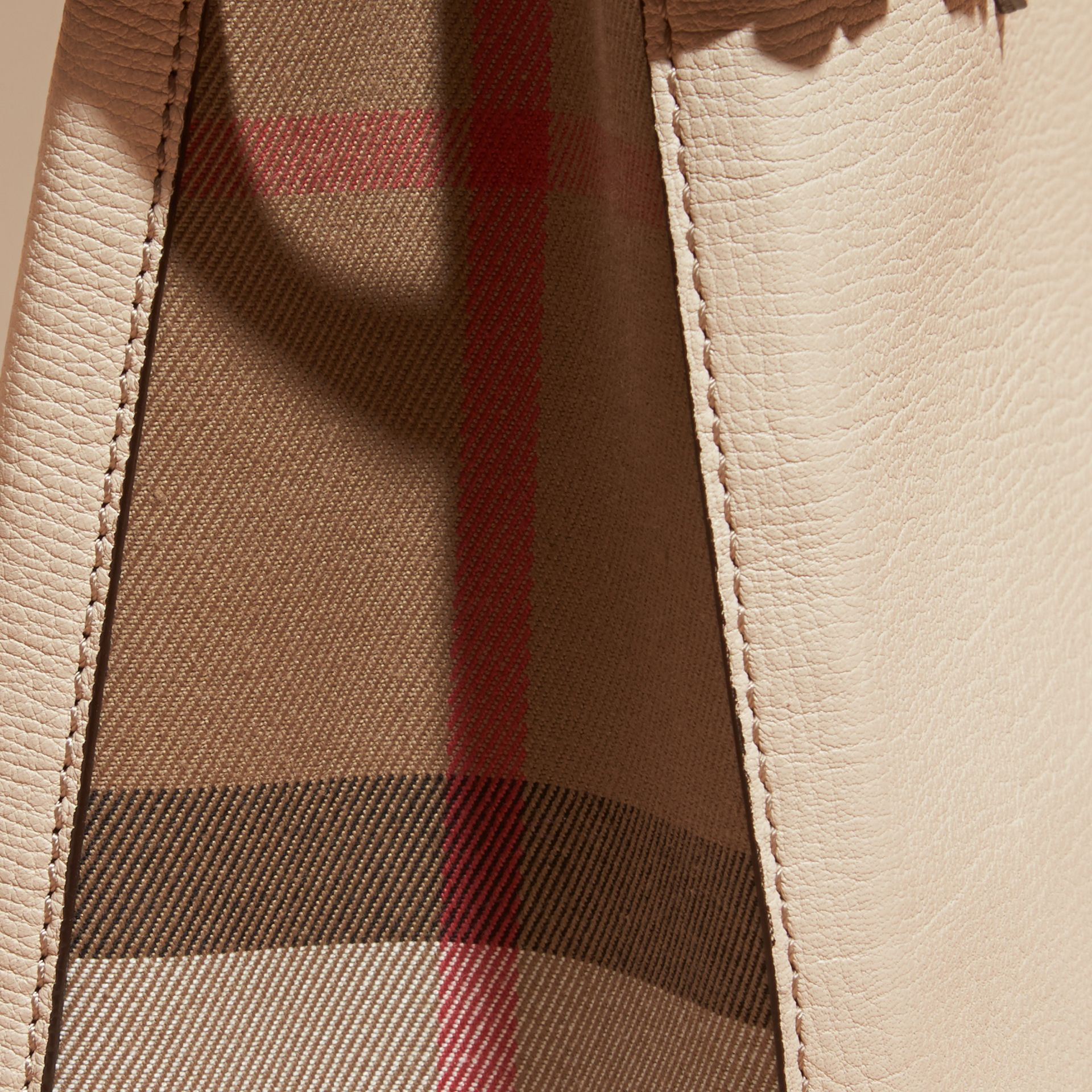 The Small Banner in Leather and House Check in Limestone - Women | Burberry - gallery image 6