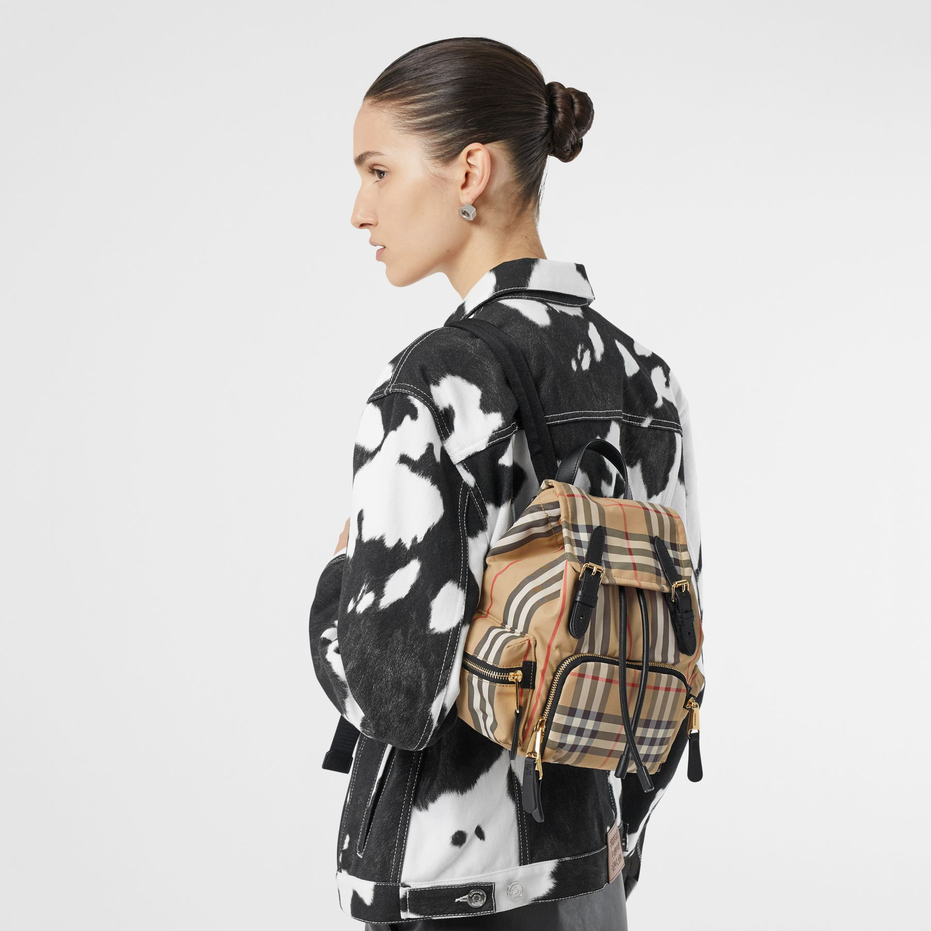 The Small Rucksack in Vintage Check and Icon Stripe in Archive Beige - Women | Burberry Australia - gallery image 2
