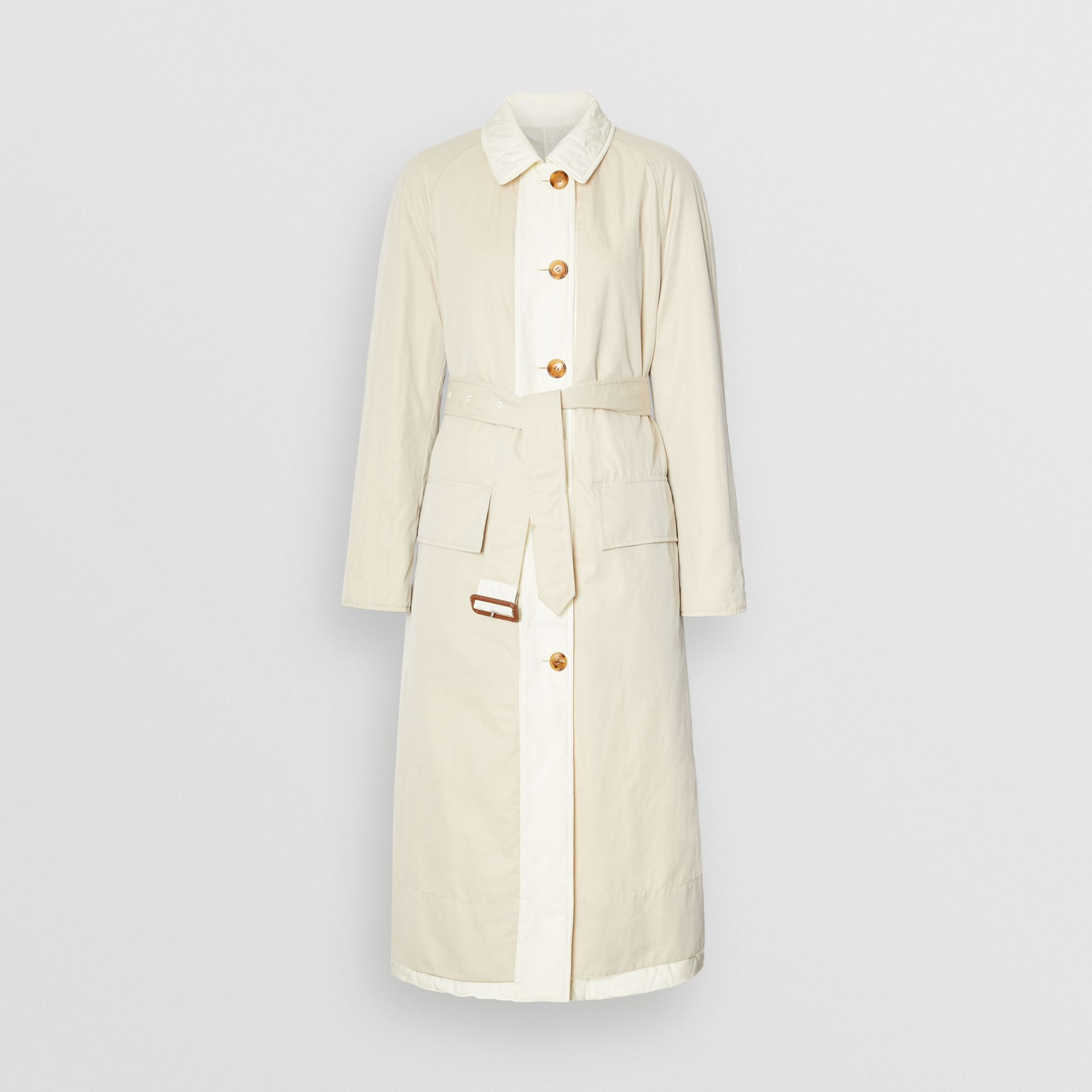 Reversible Contrast Sleeve Quilted Cotton Car Coat in Natural White - Women | Burberry - gallery image 7