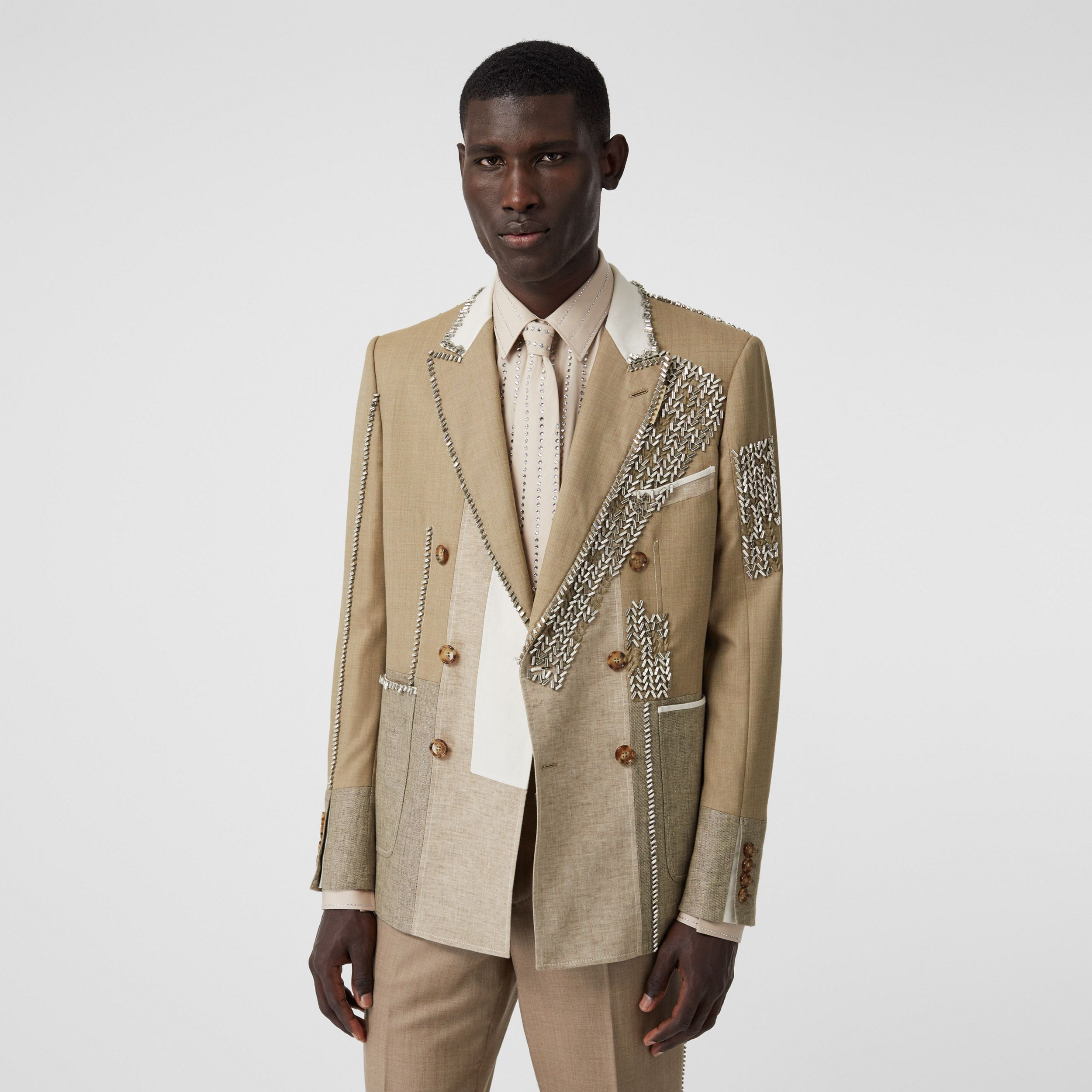 English Fit Crystal Embroidered Wool Cashmere Jacket in Pecan Melange - Men | Burberry Singapore - 1