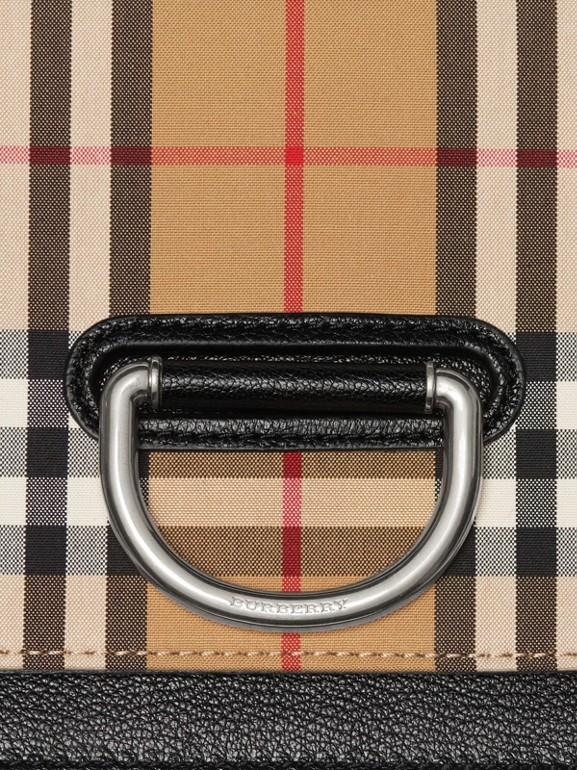 Petit sac TheD-ring en cuir et à motif Vintage check (Noir/jaune Antique) - Femme | Burberry - cell image 1