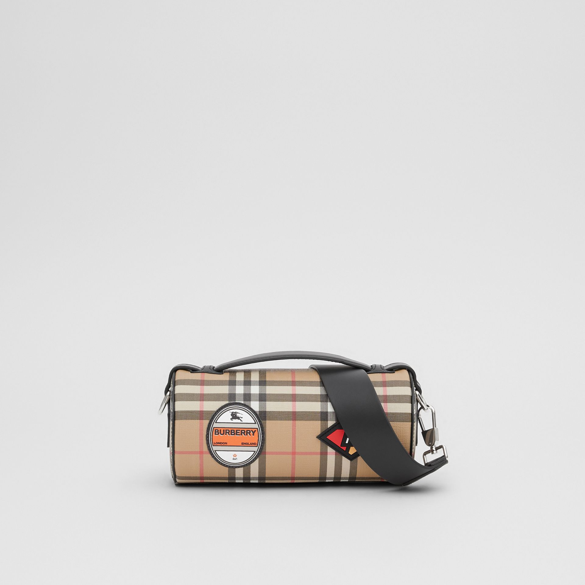 The Vintage Check E-canvas and Leather Barrel Bag in Archive Beige - Women | Burberry United States - gallery image 7
