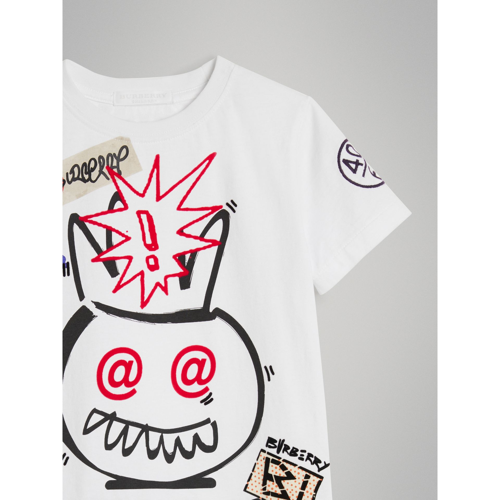 Hello Print Cotton T-shirt in White - Boy | Burberry - gallery image 4