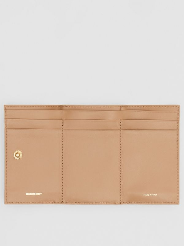 Small Monogram Print Leather Folding Wallet in Beige - Women | Burberry United Kingdom - cell image 2
