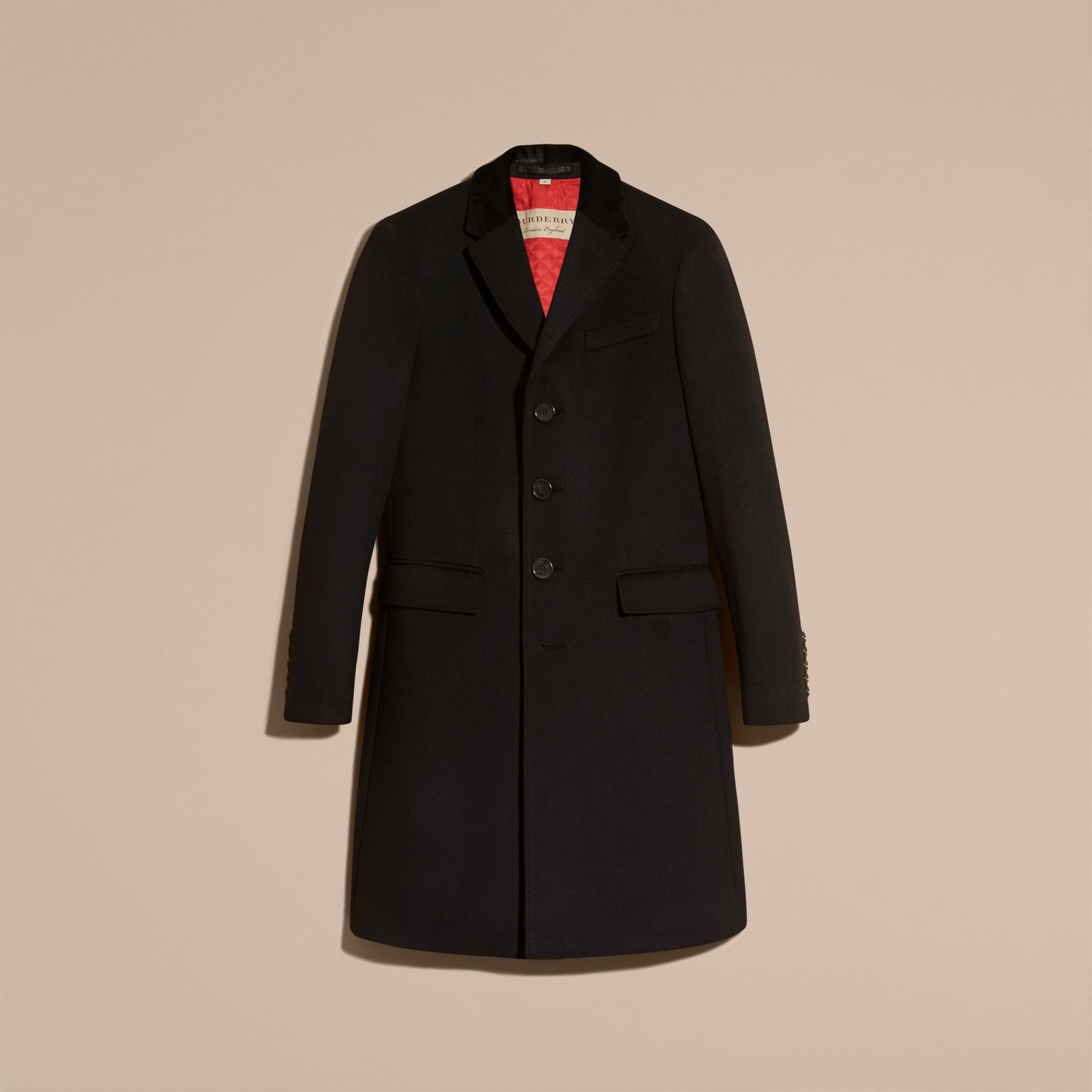 Black Rabbit Topcollar Wool Cashmere Coat - gallery image 4