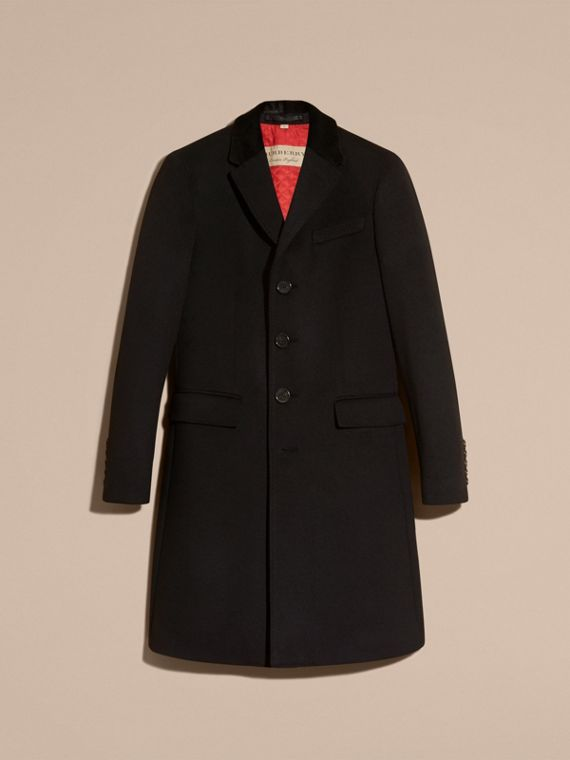 Black Rabbit Topcollar Wool Cashmere Coat - cell image 3