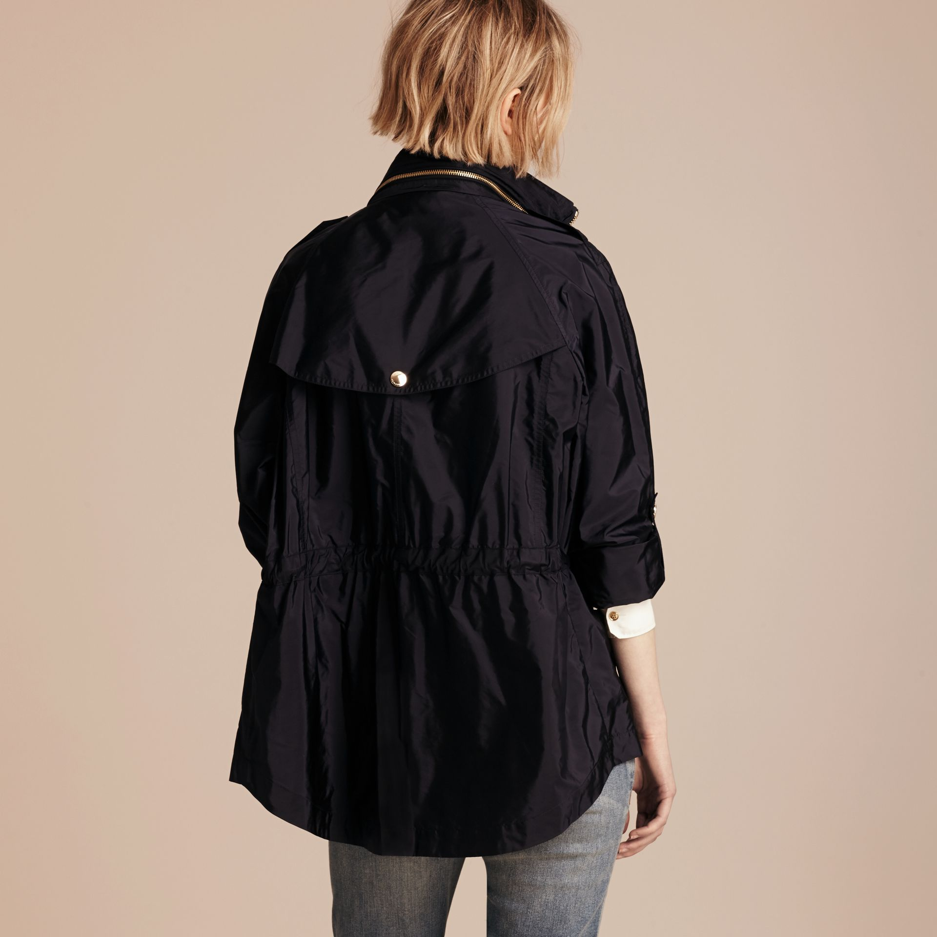 Showerproof Parka Jacket with Packaway Hood Military Navy - gallery image 3