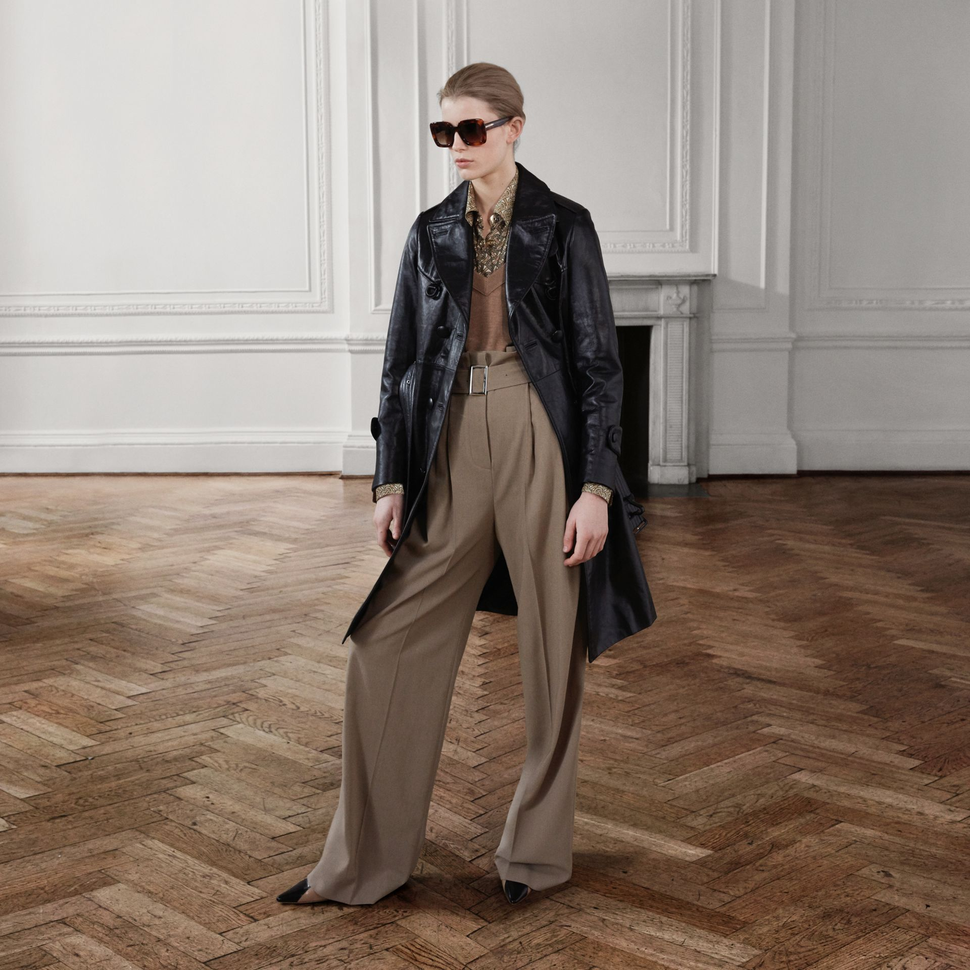 Wool Blend High-waisted Trousers in Warm Taupe - Women | Burberry Australia - gallery image 1