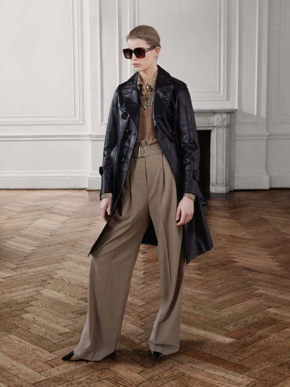 Wool Blend High-waisted Trousers in Warm Taupe - Women | Burberry Australia - cell image 1