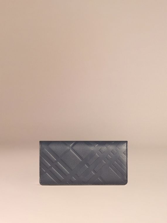 Dark pewter blue Embossed Check Leather Continental Wallet Dark Pewter Blue - cell image 2