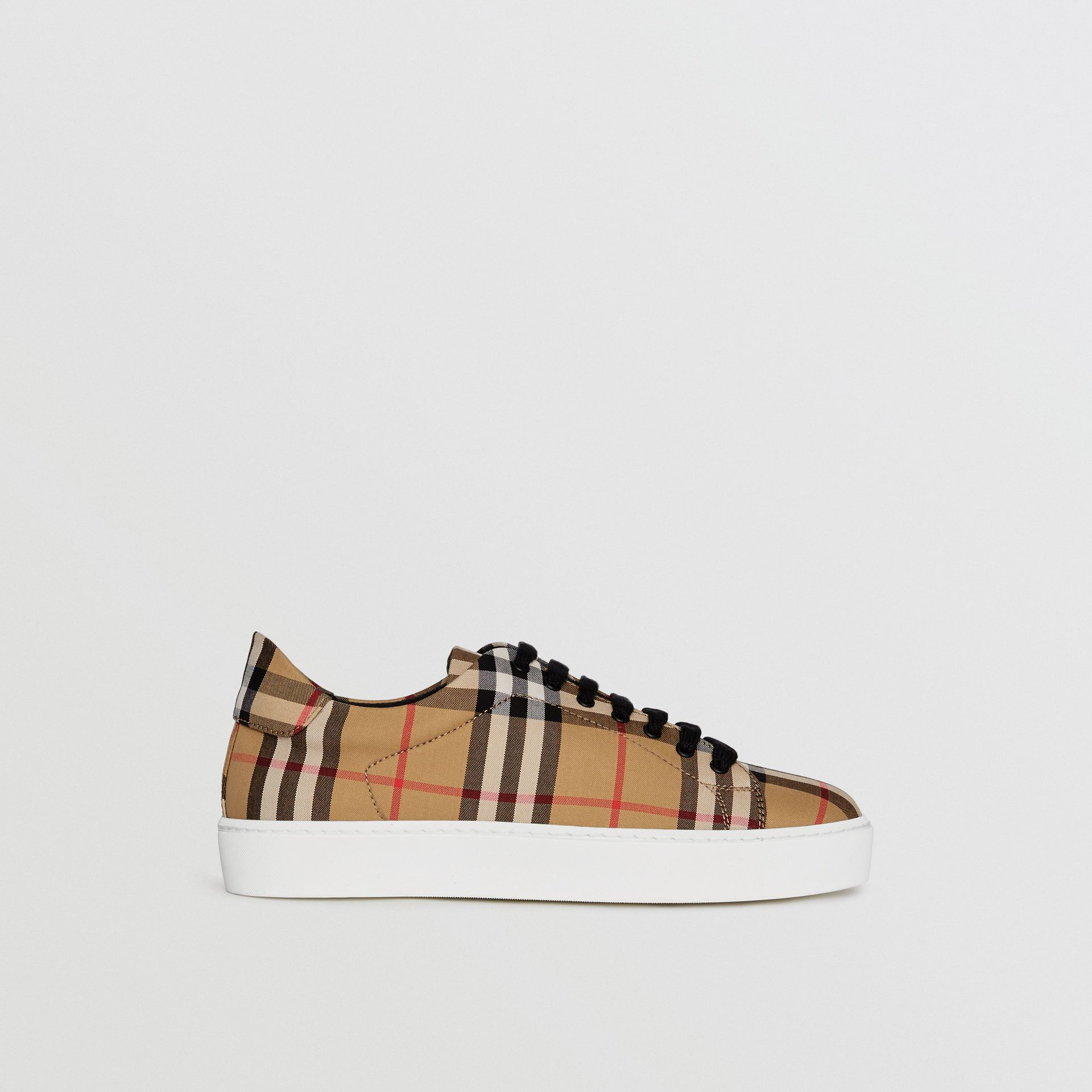 Vintage Check and Leather Sneakers in Antique Yellow - Women | Burberry United Kingdom - gallery image 5