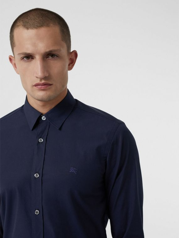 Check Cuff Stretch Cotton Poplin Shirt in Navy