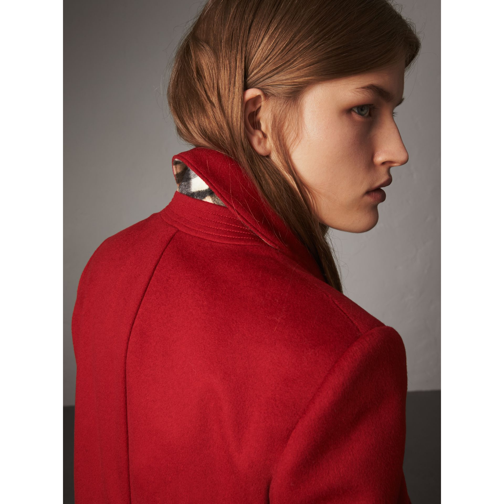 Ruffle Detail Wool Cashmere Tailored Coat in Military Red - Women | Burberry Australia - gallery image 2