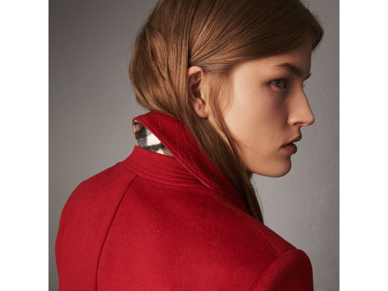 Ruffle Detail Wool Cashmere Tailored Coat in Military Red - Women | Burberry - cell image 1