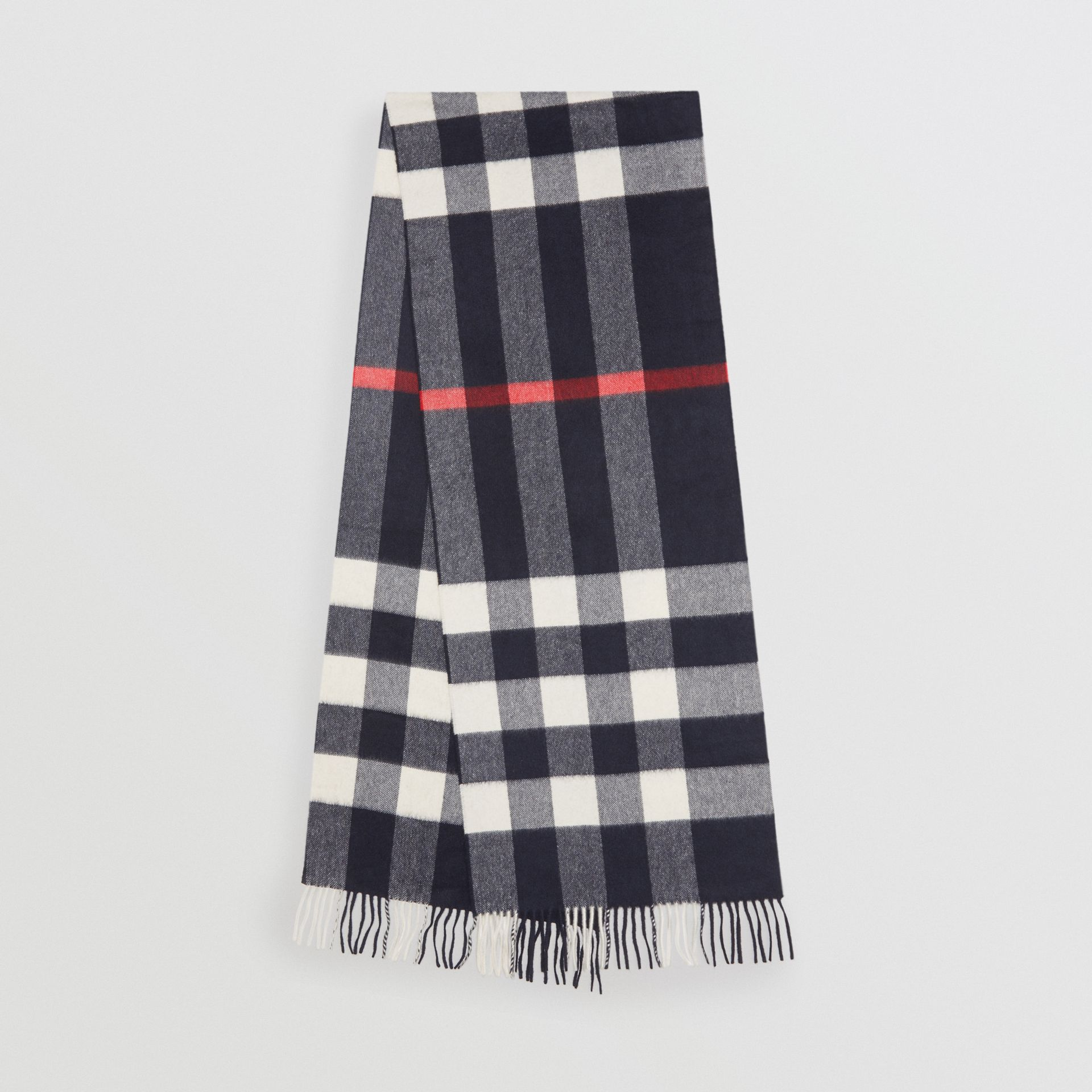 The Large Classic Cashmere Scarf in Check in Navy | Burberry United Kingdom - gallery image 0