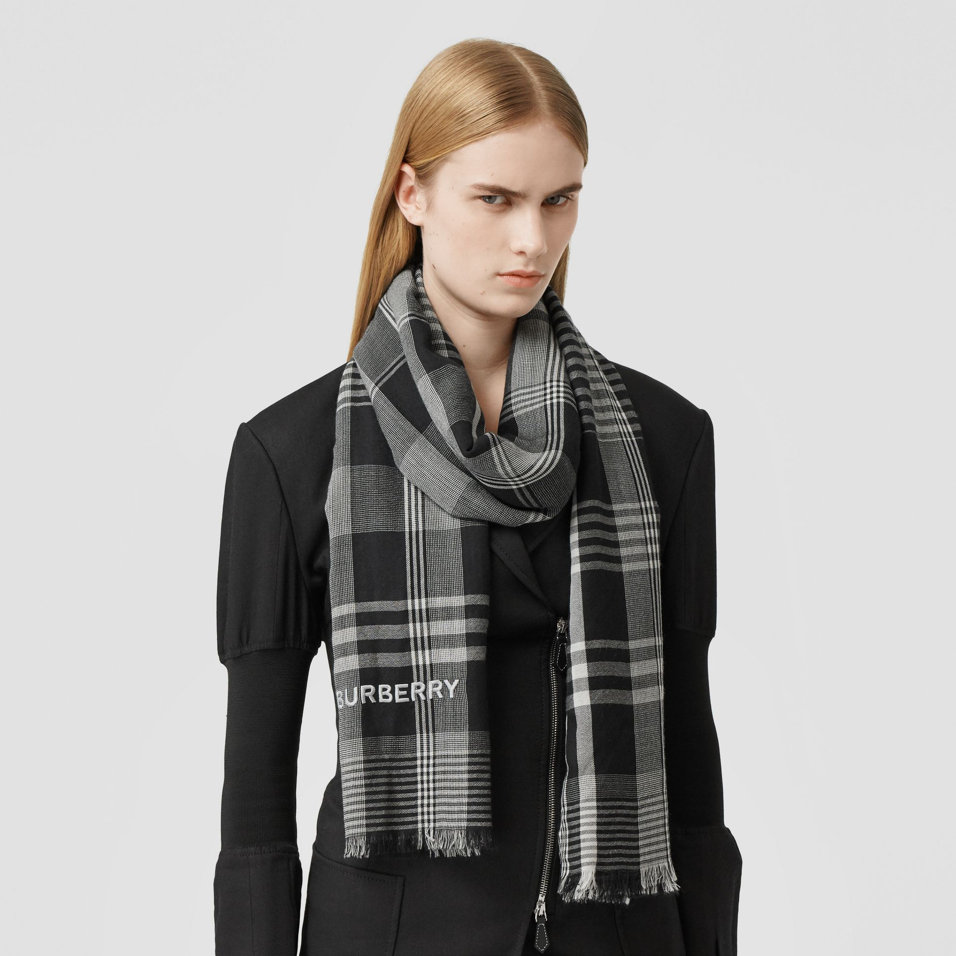 Logo Embroidered Lightweight Check Cashmere Scarf in Black/white | Burberry - gallery image 2