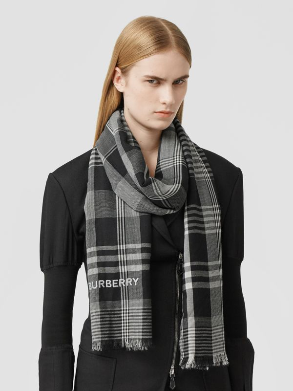 Logo Embroidered Lightweight Check Cashmere Scarf in Black/white | Burberry - cell image 2