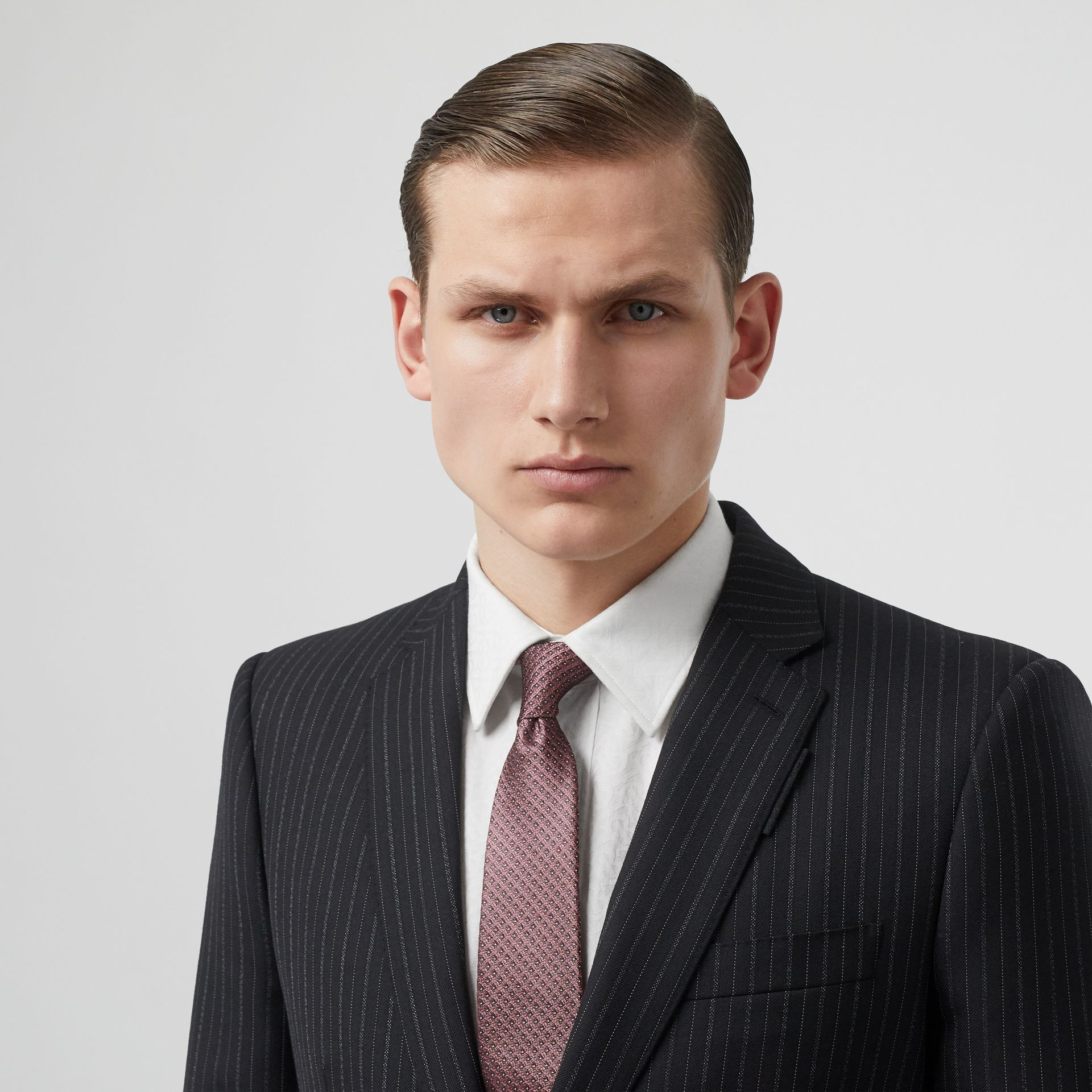 Classic Cut Micro Dot Silk Jacquard Tie in Garnet Pink - Men | Burberry United Kingdom - gallery image 2