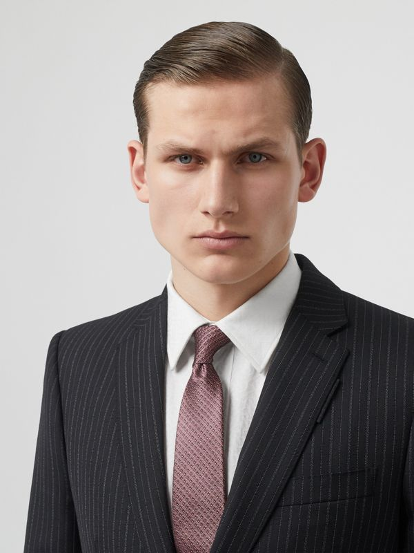Classic Cut Micro Dot Silk Jacquard Tie in Garnet Pink - Men | Burberry - cell image 2