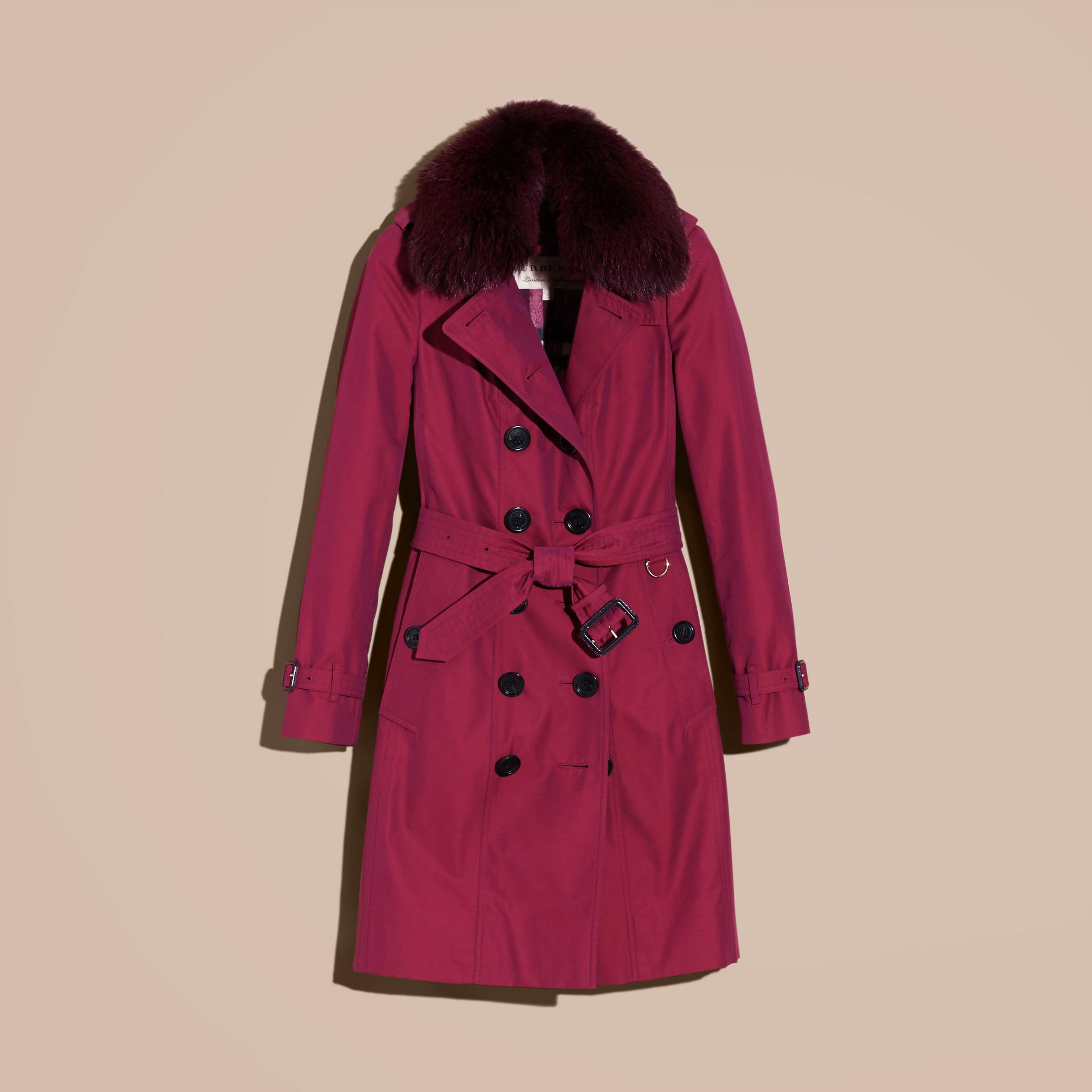 Crimson Cotton Gabardine Trench Coat with Detachable Fur Collar and Warmer Crimson - gallery image 4