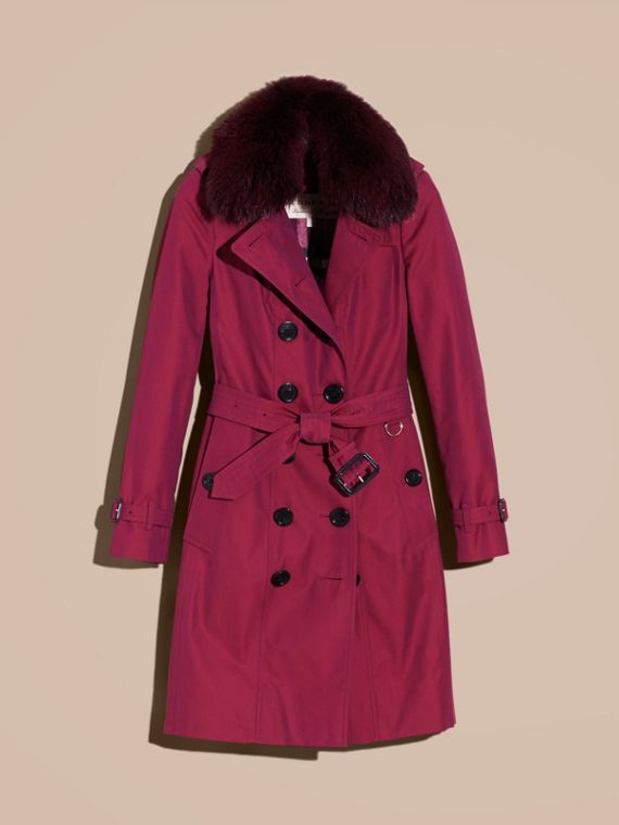 Cotton Gabardine Trench Coat with Detachable Fur Trim in Crimson - cell image 3