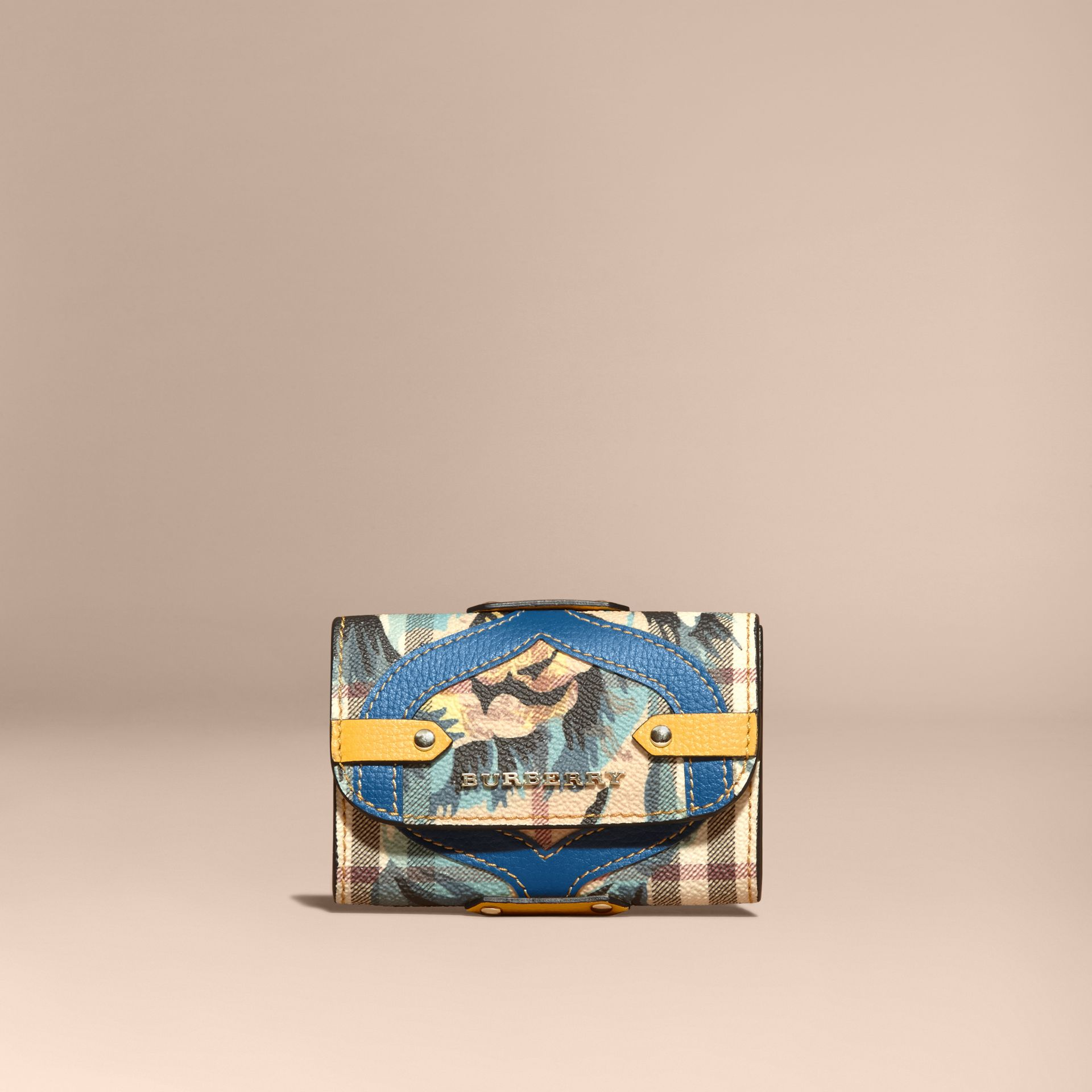 Leather Appliqué Peony Rose Print Haymarket Check Card Case in Mineral Blue - gallery image 6