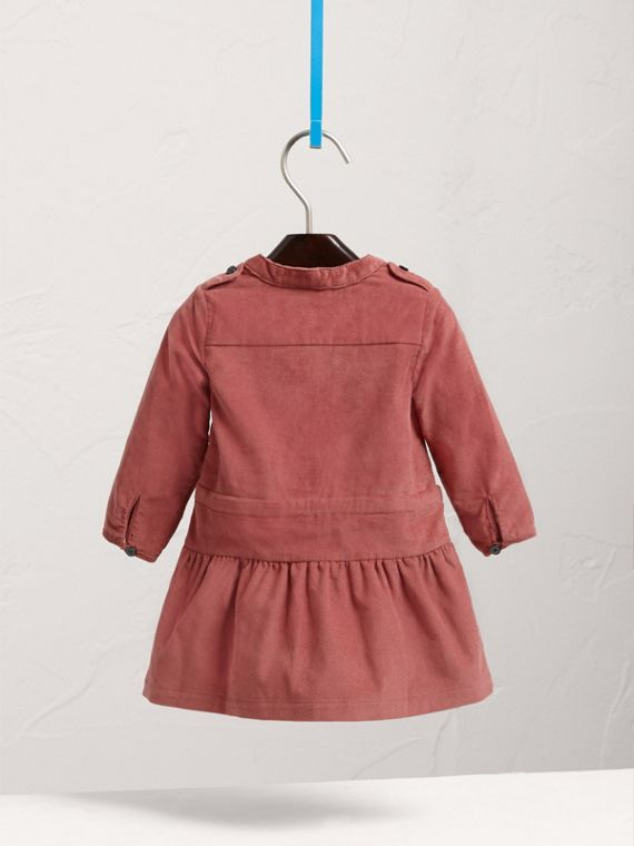 Gathered Tie-waist Cotton Corduroy Dress in Rosewood | Burberry - cell image 3
