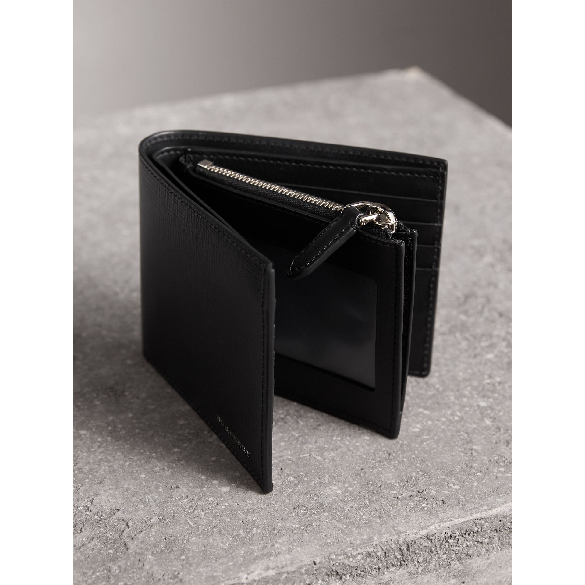 Leather International Bifold ID Coin Wallet in Black - Men | Burberry - gallery image 4