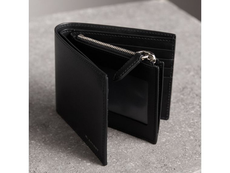 Leather International Bifold ID Coin Wallet in Black - Men | Burberry - cell image 4
