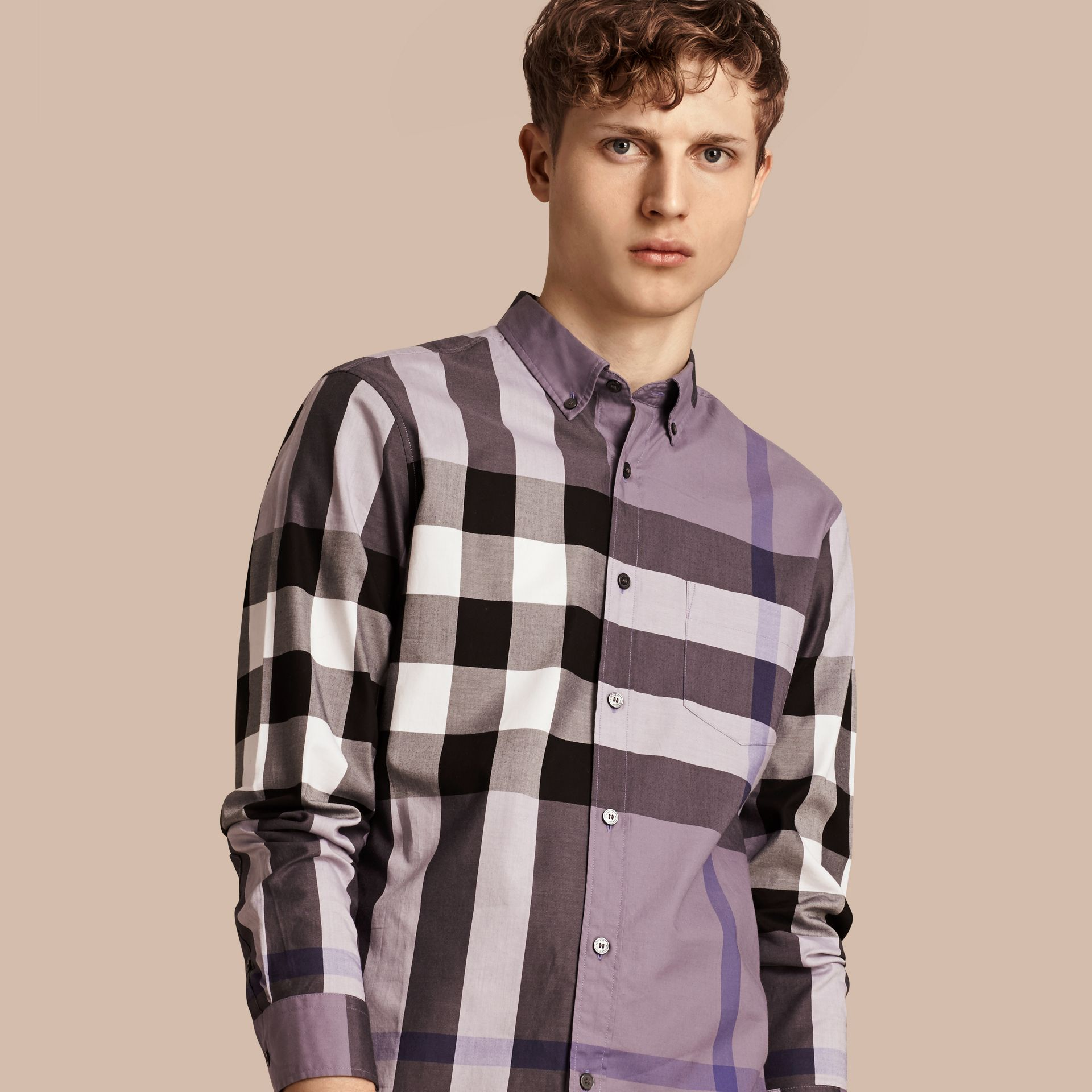 Lilac Check Cotton Shirt Lilac - gallery image 1