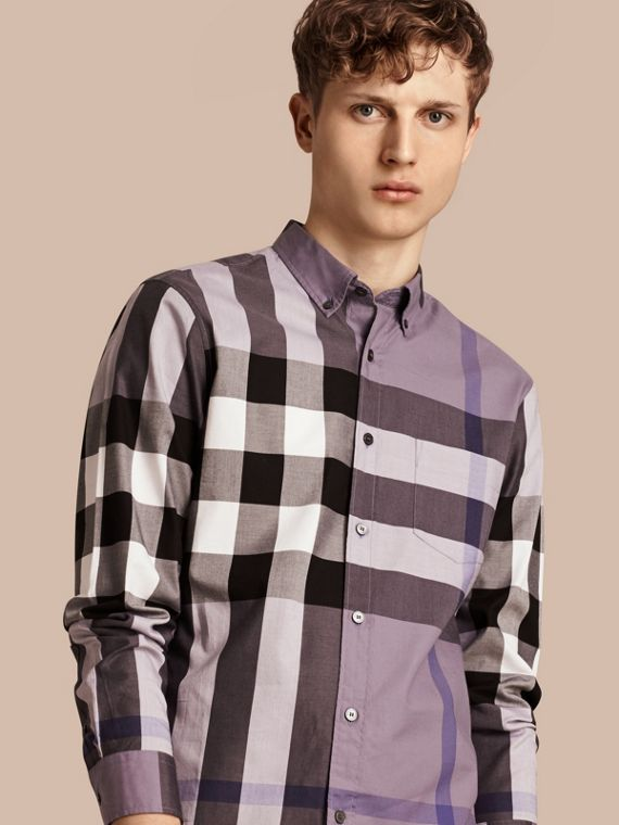 Check Cotton Shirt Lilac