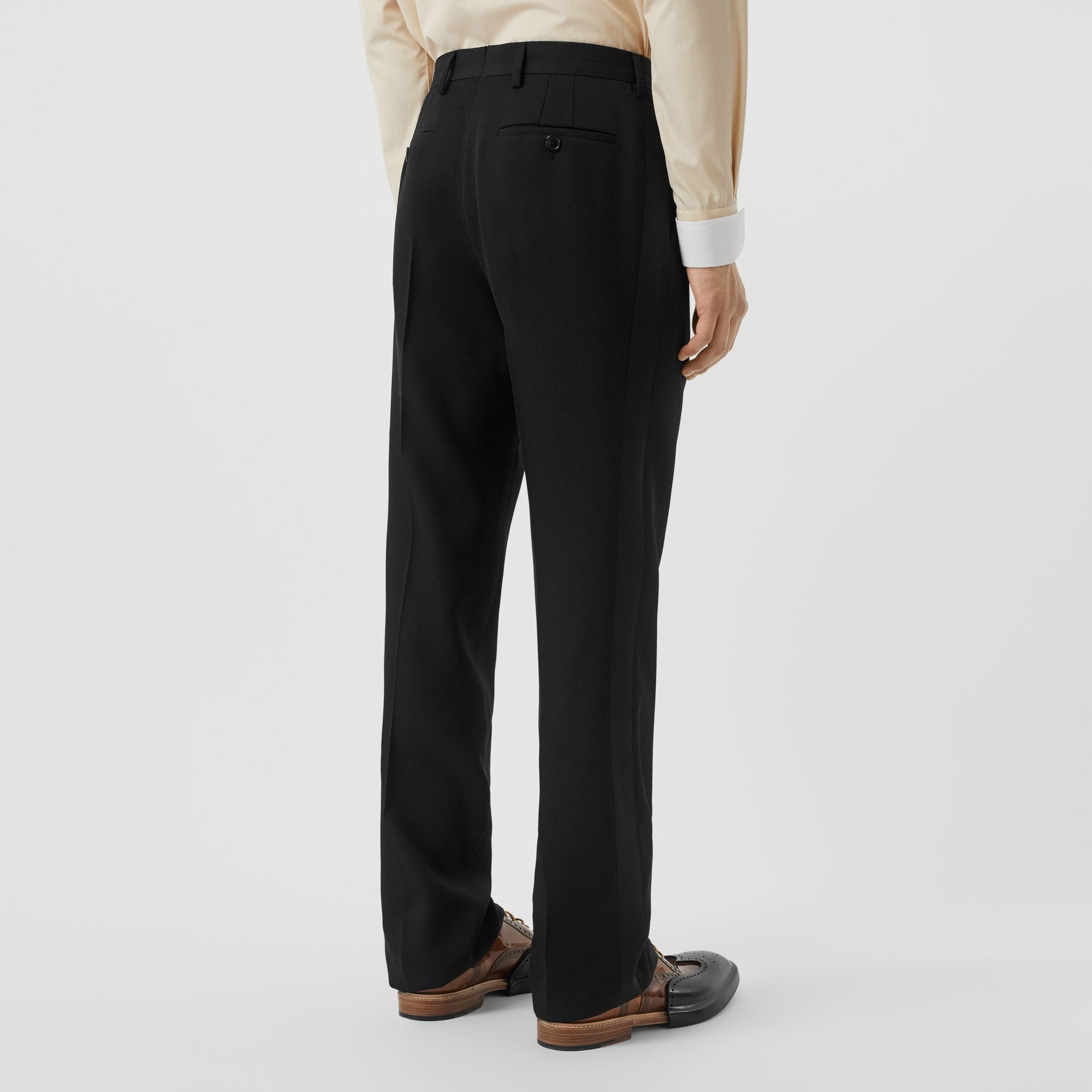 Classic Fit Wool Tailored Trousers in Black - Men | Burberry Australia - gallery image 2