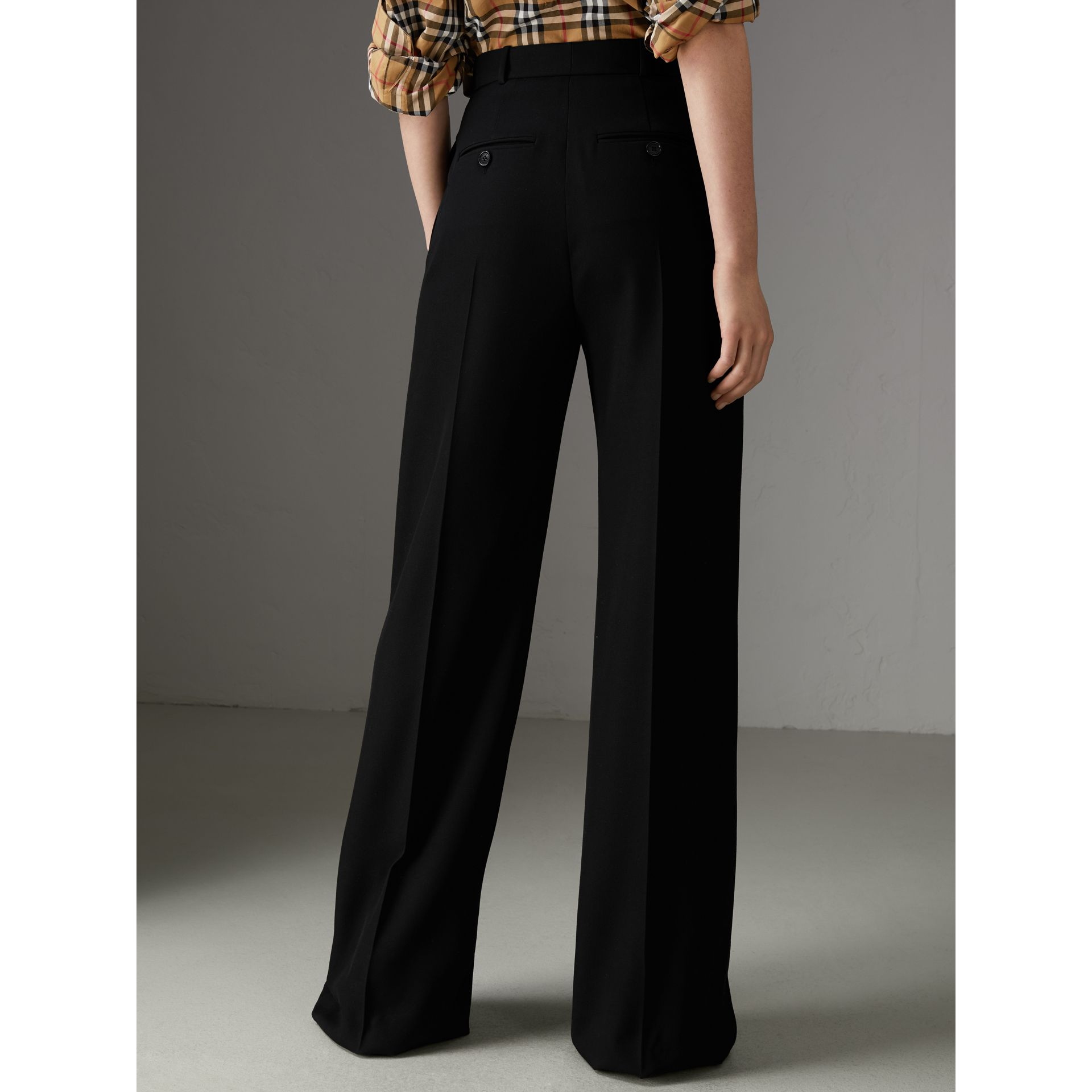 Wool High-waisted Trousers in Black - Women | Burberry United Kingdom - gallery image 2