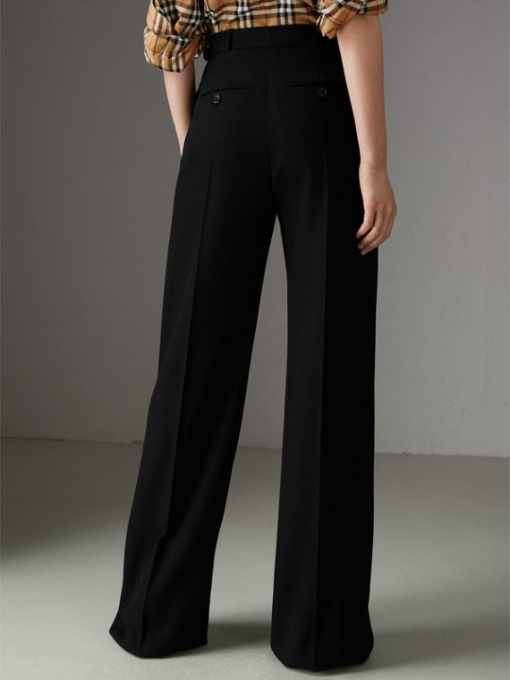 High-waisted Wool Trousers in Black - Women | Burberry - cell image 2