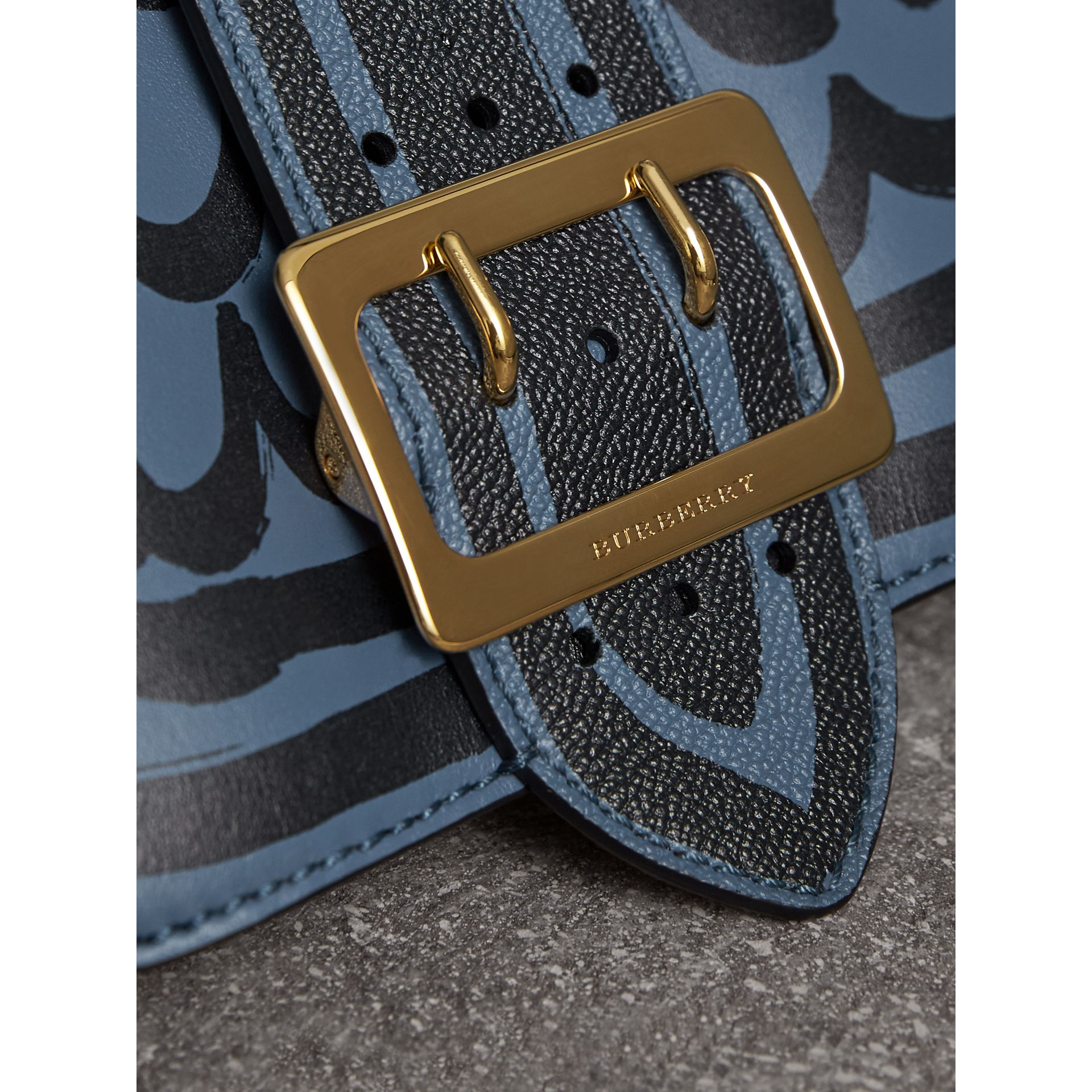The Buckle Crossbody Bag in Trompe L'oeil Leather in Steel Blue - Women | Burberry United Kingdom - gallery image 2