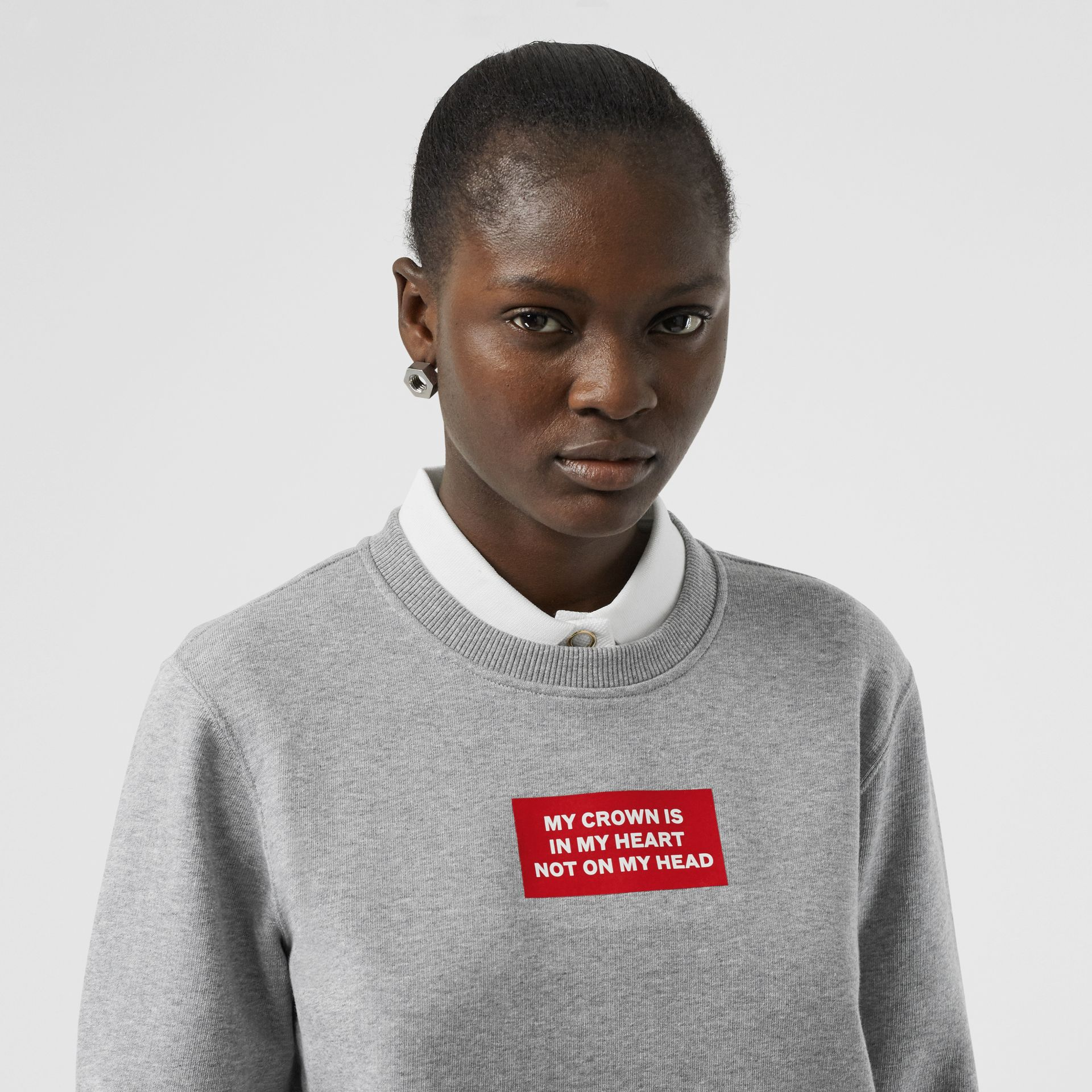 Quote Print Cotton Sweatshirt in Pale Grey Melange - Women | Burberry United Kingdom - gallery image 1