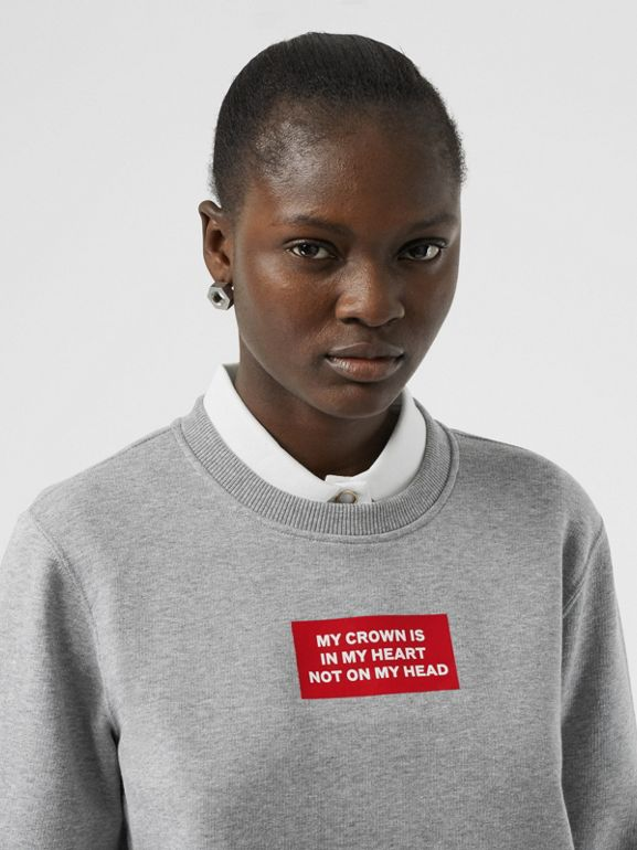 Quote Print Cotton Sweatshirt in Pale Grey Melange - Women | Burberry - cell image 1