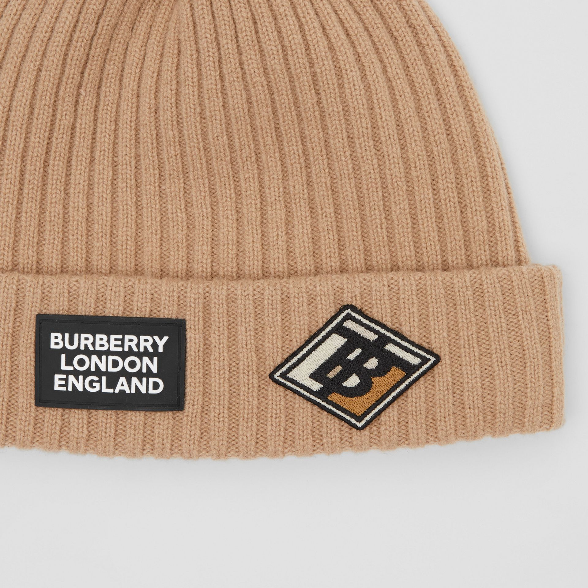 Logo Graphic Rib Knit Wool Beanie in Archive Beige | Burberry - gallery image 1
