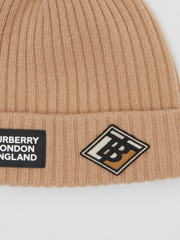 Logo Graphic Rib Knit Wool Beanie in Archive Beige | Burberry United Kingdom - cell image 1