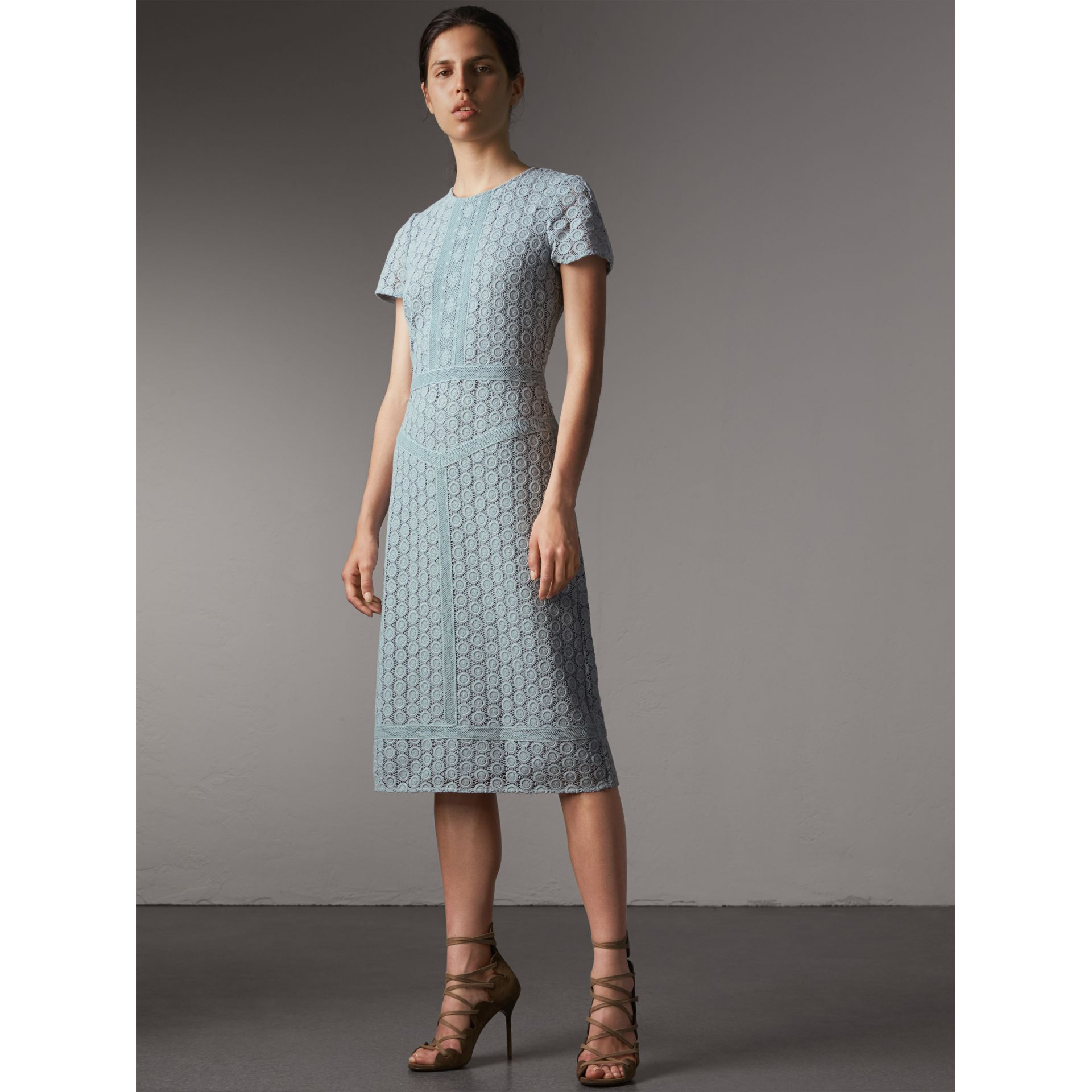 Geometric Lace Cotton Sheath Dress in Pale Slate Blue - Women | Burberry - gallery image 1
