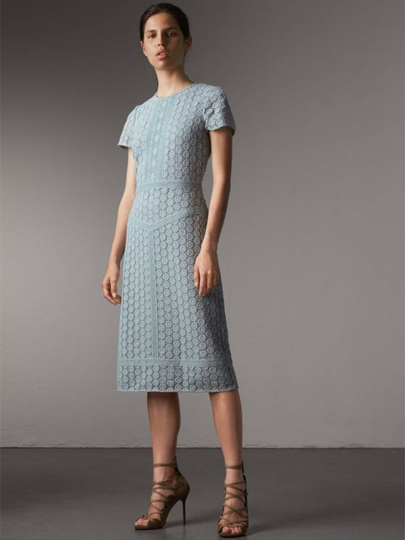 Geometric Lace Cotton Sheath Dress - Women | Burberry