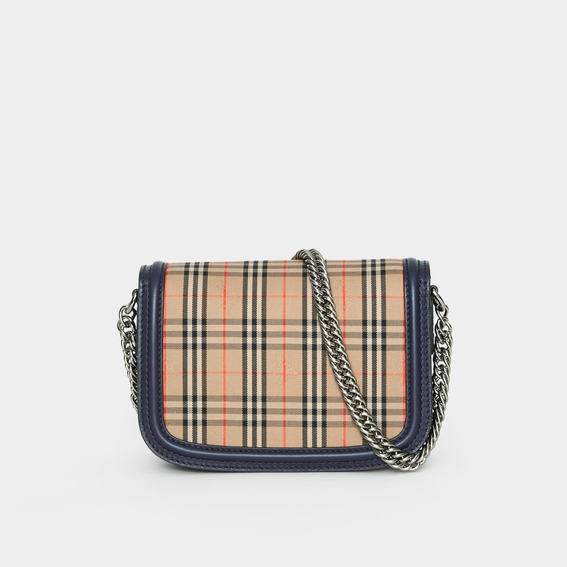 The 1983 Check Link Bag with Leather Trim in Ink Blue - Women | Burberry - gallery image 4