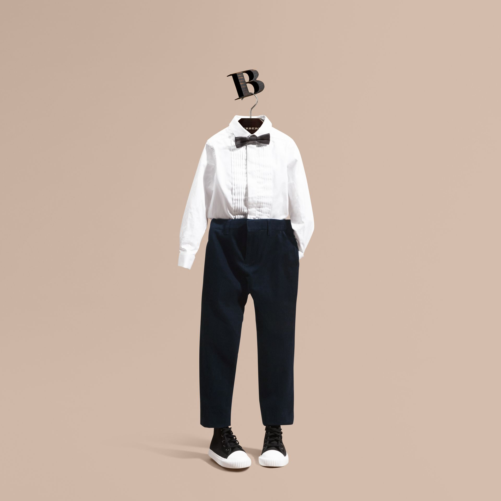 Navy Wool Cord Trousers - gallery image 1