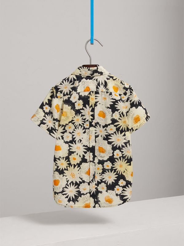 Short-sleeve Daisy Print Shirt in Black | Burberry - cell image 3