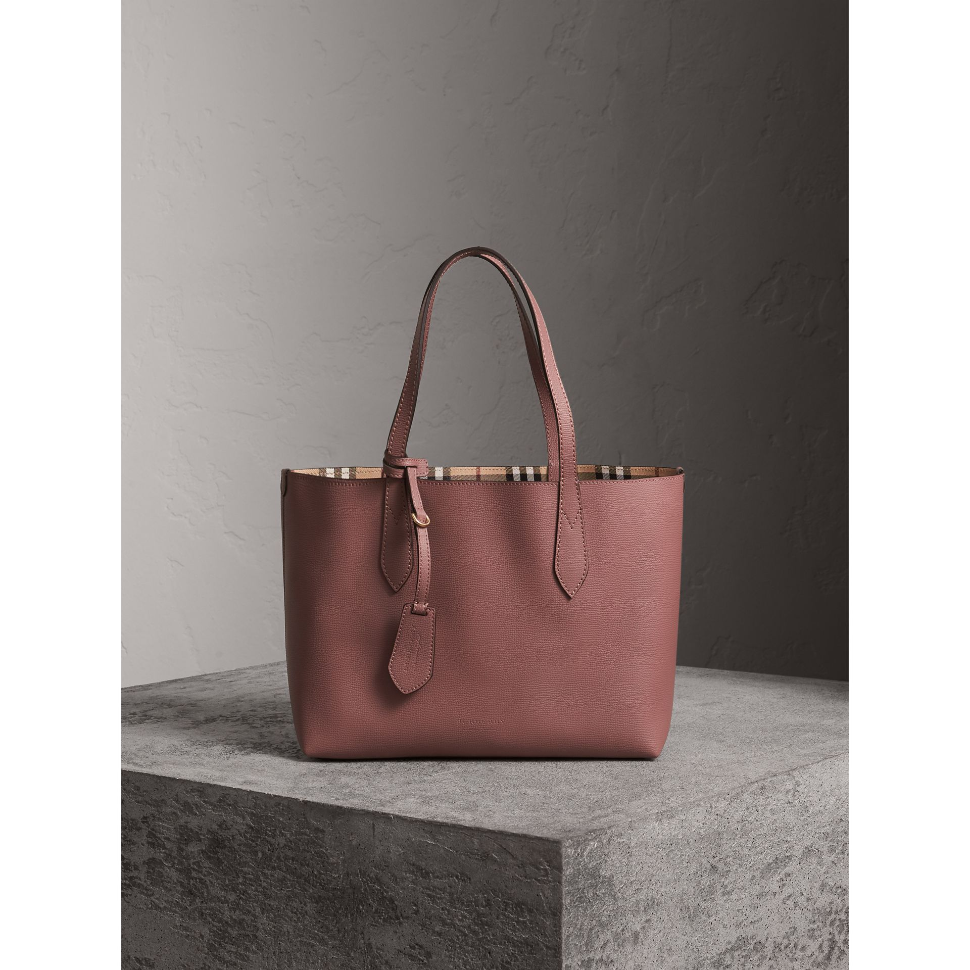 The Small Reversible Tote in Haymarket Check and Leather in Light Elderberry - Women | Burberry United States - gallery image 1