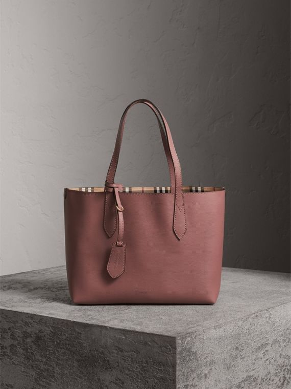 The Small Reversible Tote in Haymarket Check and Leather in Light Elderberry