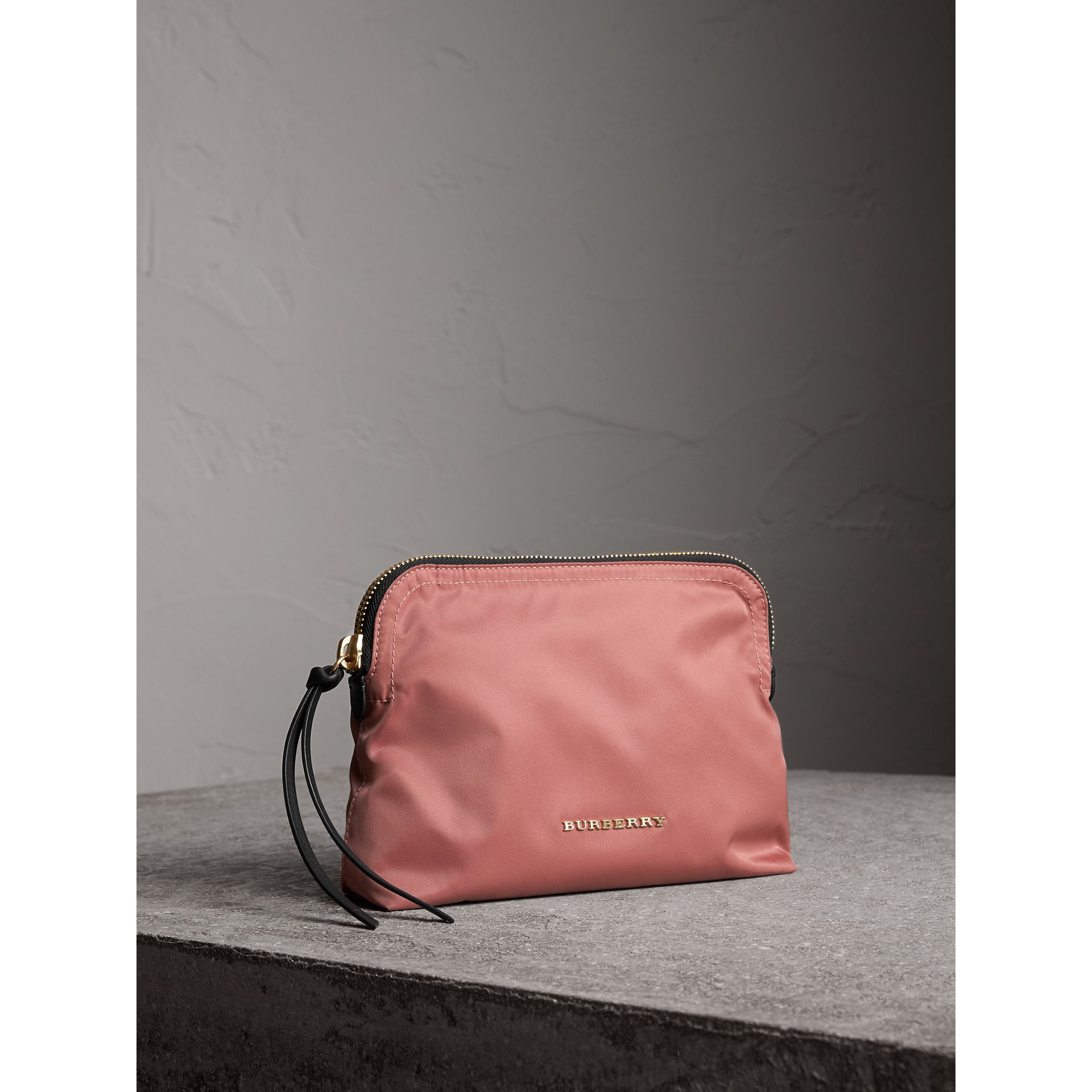 Large Zip-top Technical Nylon Pouch in Mauve Pink - Women | Burberry - gallery image 6
