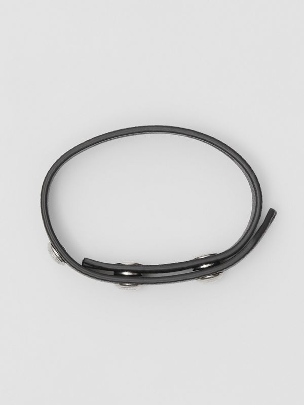 Triple Stud Grainy Leather Bracelet in Black - Men | Burberry - cell image 2