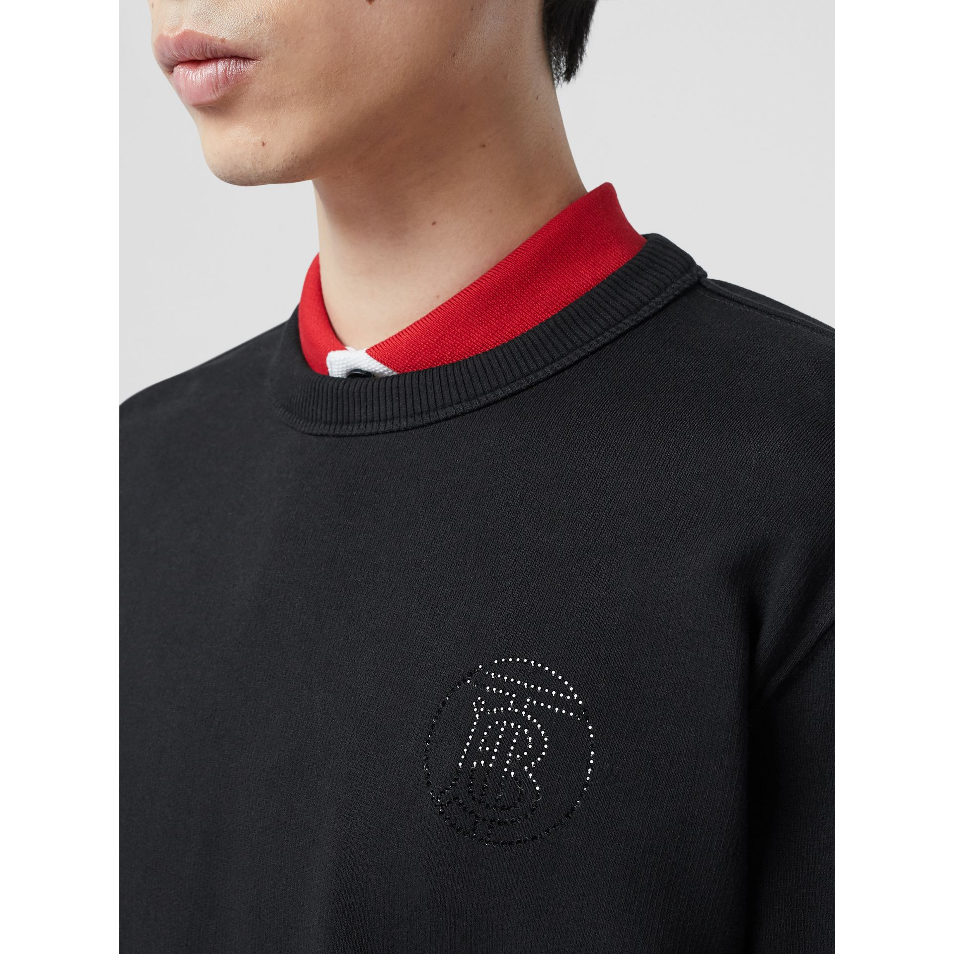 Crystal Monogram Motif Cotton Sweatshirt in Black - Men | Burberry Hong Kong S.A.R - gallery image 1